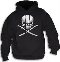 Pirate Skull Swords Mens Womens Hoody Hooded Top Front or Rear Print Sm-2XL
