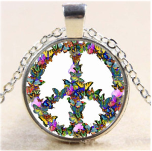 """PEACE BUTTERFLY COLORFUL RAINBOW charm pendant Sterling Silver 925 22"""" necklace"""