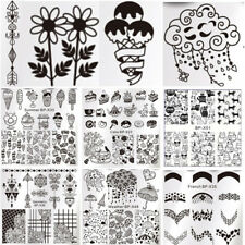 Square Nail Art Stamping Templates Image Printing Plates Flower Cat Dessert Tool