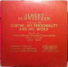 ALBERT SCHWEITZER goethe his personal & work 2 LP VG 1949 Lecture WINCHESTER