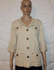 Super Beige Cotton ATMOSPHERE Button Fitted Blazer Top Shirt Blouse Size 18 / 46