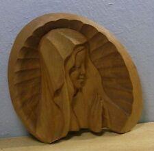 Vintage Wood Carved Madonna Wall Ornament #N