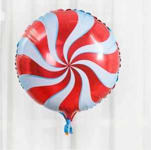 RED LARGE FOIL SWIRL CANDY FOIL BALLOON AIR/HELIUM DECORATION UK PARTY PRESENT