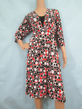 SCARLETT Black, Red & White Geom. 3/4 Sleeve Jersey Fit & Flare Dress, Size 16