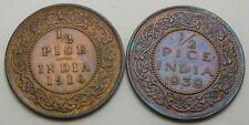 INDIA BRITISH 1/2 Pice 1910/1939 - 2 Coins. - 3197