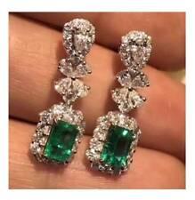 4Ct Cut Emerald Simulant Diamond Dangle Drop Earrings White Gold Finish Silver