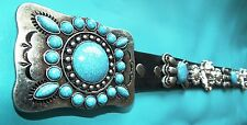 Elvis Style Turquoise and Silver Navajo Lion Head Western Concho Belt