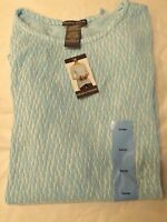 Womens Chelsea & Theodore Light Blue White Long Sleeve Textured Knit Top Sweater
