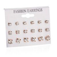 9 Pair Women Gold Silver Rhinestone Crystal Earring Set Ear Stud Fashion Jewelry
