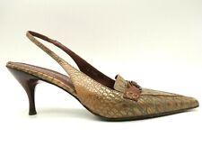 Donald Pliner Couture Crocodile Print Leather Slingback Heels Shoes Womens 8.5 M