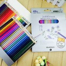 Crayons de Couleur Aquarelle 48 couleurs + Trousse 48 Trous Beige + Pinceau eau