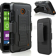For Nokia Lumia 635 630 Black Hybrid Armor Impact Hard Rugged Holster Case Cover