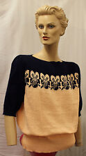 Ladies Womens 1940s Peach & Navy Pansy Band Jumper WW2 renactment Land army Girl