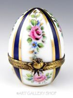 Limoges France HANDPAINTED EGG COBALT BLUE GOLD & ROSES FLOWERS Trinket Box