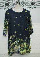 Women's Dressfo Tunic Top Size 2X 3/4 Sleeve Multicolored Floral