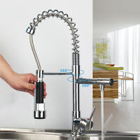 US  Modern Popular 360° swivel kitchen sink faucet with pull down spray chrome