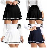 Women School Uniforms Pleaded Mini Skirts High Waisted Flared Sport Skater Skirt