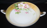 Nippon Hand Painted Serving Bowl White & Pink Flowers, Handles, Gold Trim, S6308