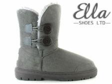 Ladies Ella Winter Boots Grey Faux Fur Sheepskin Mid Calf Button Warm Bootie