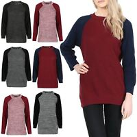 Womens Chunky Knitted Baggy Sweater Contrast Sleeves Oversized Jumper Dress