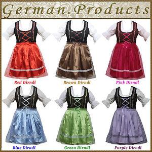 3 Piece Women Dirndl Dress German Bavarian Trachten Oktoberfest Ladies Costume
