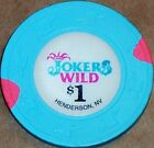 Old $1 JOKERS WILD Casino Poker Chip Vintage Antique H/C Mold Henderson NV 1993