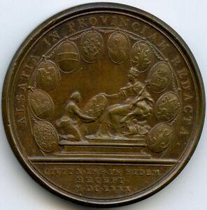 Louis XIV Soumission des dix villes d'Alsace Médaille 1680
