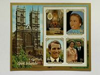 VINTAGE STAMP💎1973💎Cook Islands Princess Anne Royal Wedding Mini Sheet #371a💎