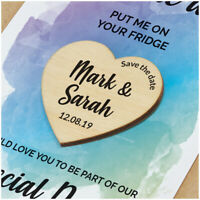 PERSONALISED Modern Wooden Save The Date Magnets Watercolour Save The Date Cards