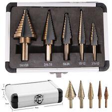 5Pcs Large Titanium HSS Step Cone Drill Hole Cutter Bit Set Tool with Case