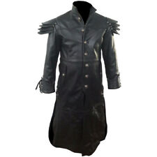 Mens Trench Coat REAL Black Leather Goth Matrix Steampunk Gothic