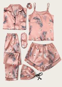 New Womens 7pcs Leaf Print Ladies Satin Pyjama Loungewear Set Sizes 8-14 UK