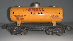 Lionel 2654 Orange Shell Tank Car - Prewar 1938-1942