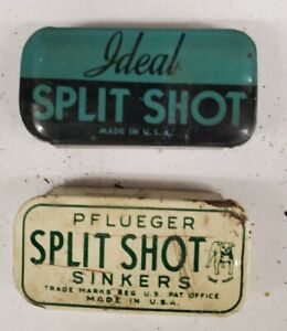 2 Vintage Fishing Split Shot Tins - Ideal & Pflueger