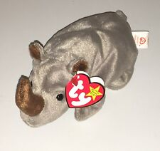 TY Beanie Baby Spike Rhino New Plush Rhinoceros Toy Retired Rare PE Pellets NWT