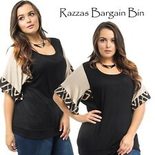 New Ladies Black & Biege Top Plus Size 16/2XL (1341)MJ