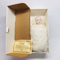 "1983 Ideal Tiny Tears 14"" Porcelain Doll Pink Box Molded Hair Pillow Bottle COA"