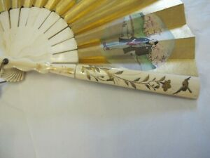 ANTIQUE JAPANESE HAND PAINTED PAPER FAN SHIBAYAMA INLAID END STICKS