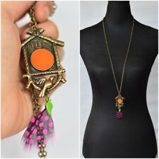 Boho Birdhouse and Feather Long Necklace in Brass Tone