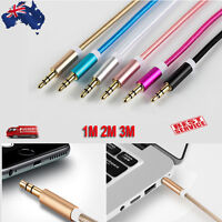 Male To Male Audio Braided Gold Plated 3.5MM Jacks AUX Cable For Car Phone 1M 2M