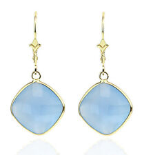 14K Yellow Gold Gemstone Earrings With Cushion Cut Blue Onyx