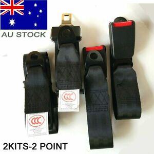 2 Point Black Retractable Car MPV Seat Lap Sash Belts Kit Strap Buckle Retractor