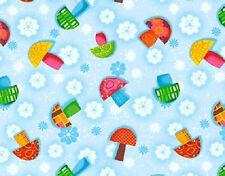 1YD Oh Hoppy Days Plump MUSHROOMS TOSS Toadstools Fungi Mushroom Floral Fabric