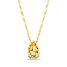 14k Oro Amarillo Pera Citrino Lágrima Diamante Pavé Collar con Colgante 1.63 TCW