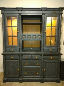 Blue lighted display hutch china cabinet distressed wood Excellent Condition