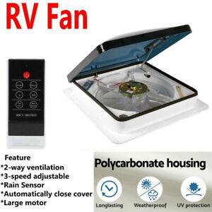14'' RV Roof Fan 12V Exhaust Vent Fantastic Camper Trailer Rain Sensor W/ Remote