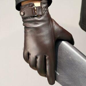 Geniune Sheepskin Leather Gloves Men Driving Mittens Touch Screen Windproof32197