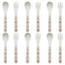 6x Children's Bamboo Fibre Dining Fork Knife Spoon Cutlery Set - Flower