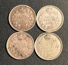 Lot of 4 George V Silver 5 cent coins, Date Run 1917, 1918, 1919, 1920 (1)