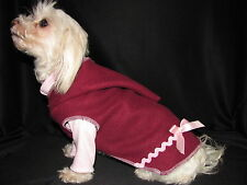Burgundy Fleece Hoodie Dog Puppy Teacup Pet Clothes S - Small